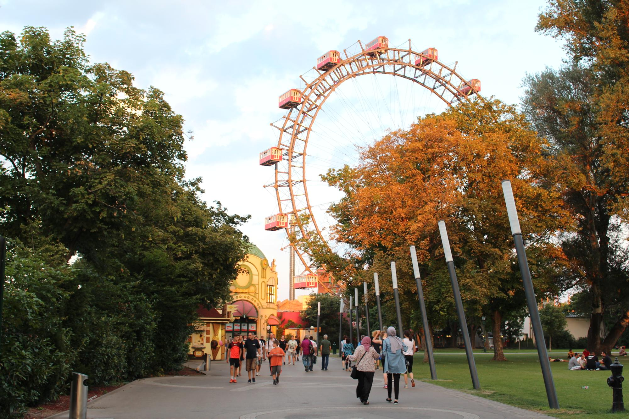 entrance to the vienna prater with the ferris wheel in the background